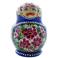 Traditional 10 Piece Blue Nesting Doll with Ladybug