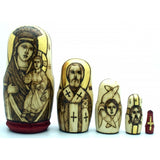 "Wood Burned Icon Doss Set 4""H"