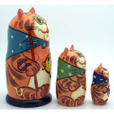 buyrussiangifts-store - Fishing Cat Nesting Doll Set - BuyRussianGifts Store - Nesting doll