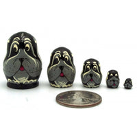 Black Dog Miniature Nesting Doll Set