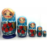 "Blue with Strawberry Nesting Doll 6""Tall"