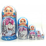 buyrussiangifts-store - Winter Village Blue Russian Nesting Doll - BuyRussianGifts Store - Nesting doll