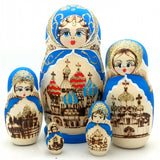 "Russian Church in Blue Nesting Doll 6"" Tall"