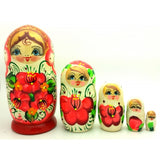 "buyrussiangifts-store - White Nesting Doll with Orange Flowers 5"" Tall - BuyRussianGifts Store - Nesting doll"