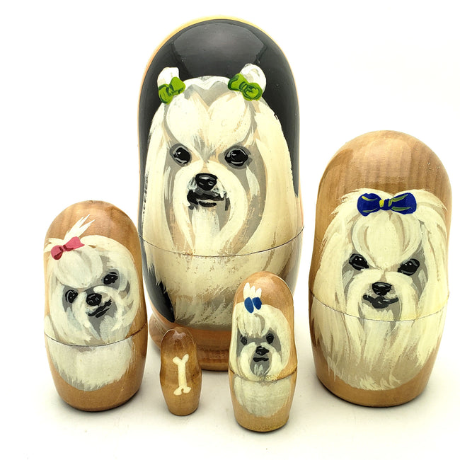buyrussiangifts-store - Maltese Dog Breed Stacking Doll Set - BuyRussianGifts Store - Nesting doll
