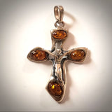 men silver amber cross