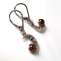 moon silver amber earrings