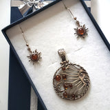 celestial sun moon pendant jewelry set