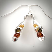multicolor amber silver earrings