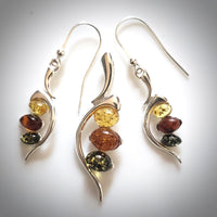 multicolor amber in sterling silver earrings pendant set