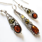 multicolor amber sterling silver earrings & pendant jewelry set