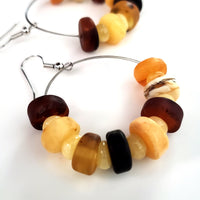 natural amber beads large hoops earrings
