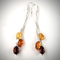 Long multicolor amber earrings with sterling silver