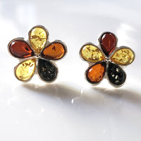 multicolor amber silver  flower  stud earrings