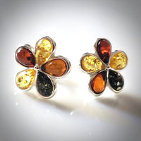 multicolor amber flower stud earrings
