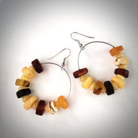 Large multicolor amber beach hoops earrings