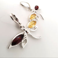silver dragonfly earrings with natural amber