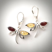 multicolor amber dragonfly earrings in sterling silver