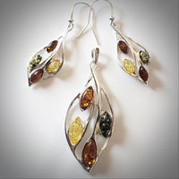 multicolor amber silver jewelry set