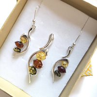 multicolor amber in sterling silver earrings pendant set in gift box