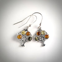 multicolor amber silver tree of LIfe earrings