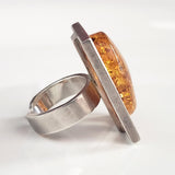 rectangular sterling silver large ring