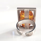 adjustable silver natural amber ring