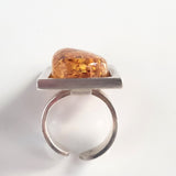 freeform natural honey amber ring