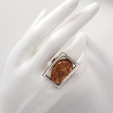 freeform real amber ring in sterling silver