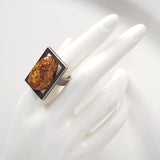 unisex large genuine amber silver ring