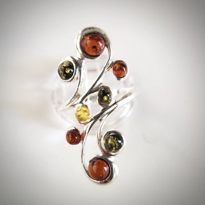 long multi beads amber ring