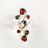 Long Sterling Silver Ring with 8 Natural Amber Beads