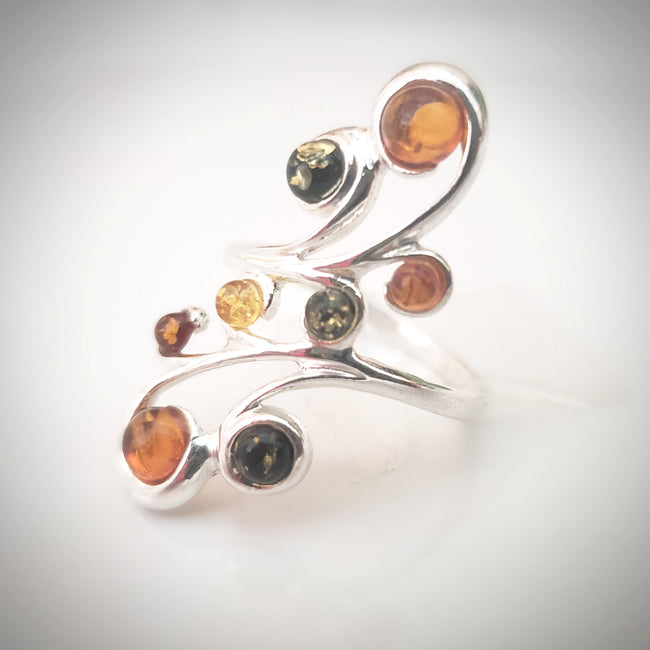 many amber multicolor stones ring