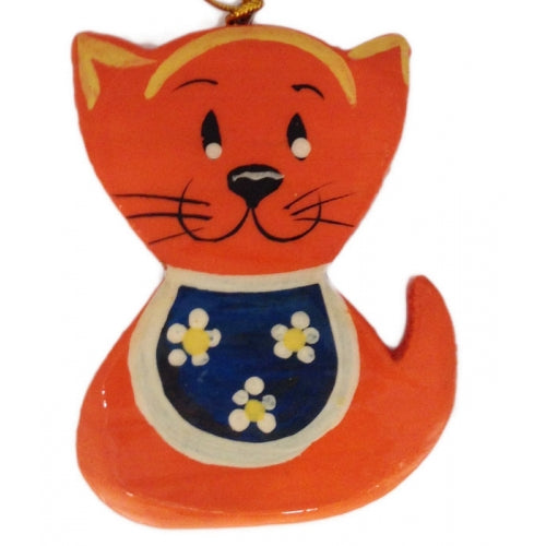 Orange Cat Wooden Christmas Ornament