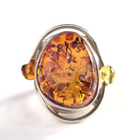 genuine amber large silver ring
