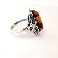 sterling silver cognac amber oval ring