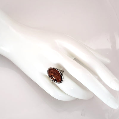 Genuine Cognac Amber Celtic Ring in Sterling Silver