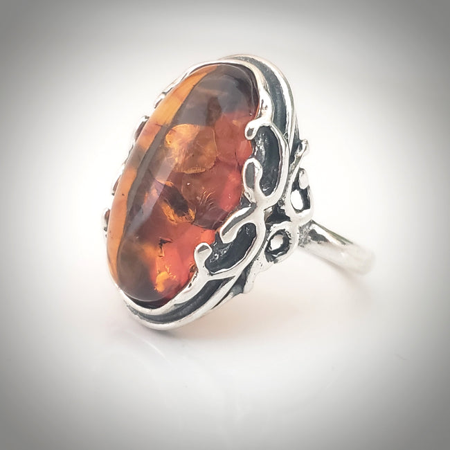 classic oval natural amber ring