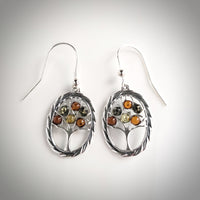 Silver Tree of Life oval earrings