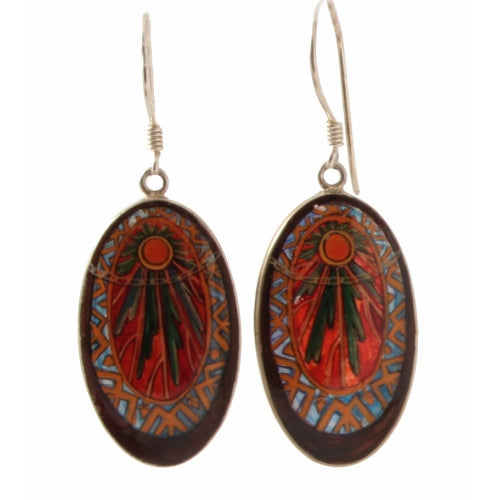 buyrussiangifts-store - Painted Oval Earrings Inspired by Mucha - BuyRussianGifts Store - MOTHER OF PEARL HAND PAINTED JEWELRY