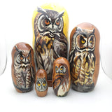 "Long Eared Owl Stacking Matryoshka Doll 7"" Tall"