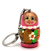 buyrussiangifts-store - Pink Blue Nesting Doll Keychain with Strawberry - BuyRussianGifts Store - Souvenirs