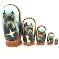 "buyrussiangifts-store - Blue Nose Pitbull Dog Breed Russian Doll Set 4""Tall - BuyRussianGifts Store - Nesting doll"