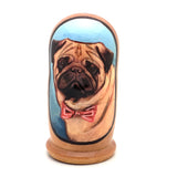 "Pug Puppy Dog Breed Nesting Doll Set 4"" Tall"