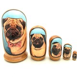 "buyrussiangifts-store - Pug Puppy Dog Breed Nesting Doll Set 4"" Tall - BuyRussianGifts Store - Nesting doll"