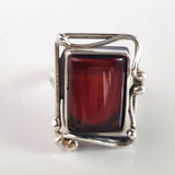 Cherry red amber silver ring