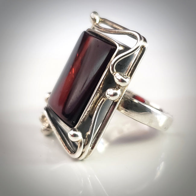 rectangular sterling silver cherry amber ring ring