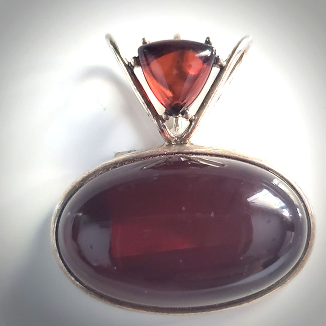 Cherry Red designer amber pendant in silver