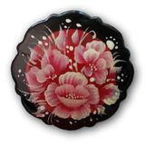 Red flowers Russian lacquer brooch