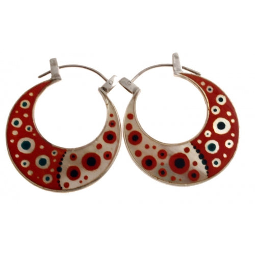 Red Hoops Hand Painted Earrings Mother of Pearl Silver